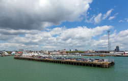 Southampton Docks on calm summer day with fine weather Royalty Free Stock Photography