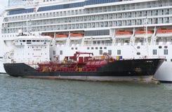 Bunkering and cruise ships. Southampton Docks UK Stock Photography
