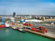 Southampton Docks, England, UK. SOUTHAMPTON, UK - 27 MARCH 2017: Southampton Docks, Marina and Boats in Working Harbour, England, United Kingdom Royalty Free Stock Images