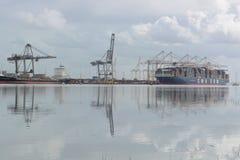Southampton Docks, Hampshire UK. A large container ship at Southampton Docks, Hampshire, UK Stock Photo