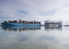 Southampton Docks, Hampshire UK. Two container ships at Southampton Docks, Hampshire, UK Stock Photography