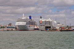 Southampton docks with industrial and passenger terminals Stock Images