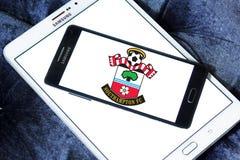 Southampton FC soccer club logo. Logo of english Southampton FC soccer club on samsung mobile Royalty Free Stock Images