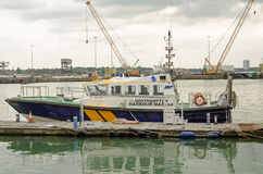 Southampton Harbour Master boat. SOUTHAMPTON, UK - MAY 31, 2014: One of the powerful boats used by the Harbour Master in Southampton docks.  The busy port has Royalty Free Stock Photos