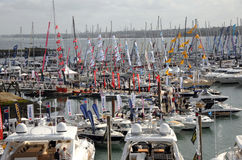 Southampton International Boat Show. View of the vessels on display at the Southampton PSP International Boat Show, as seen from the flight deck of the warship Stock Photos
