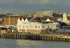 Southampton Pier in England. Buildings by the Southampton Pier in England stock image