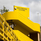 Southbank Centre. London, UK - 5 June 2017: The exterior of the bright yellow Southbank Centre on the south bank of the River Thames. This complex is the largest Royalty Free Stock Photography