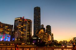 Southbank em Melbourne no crepúsculo foto de stock royalty free