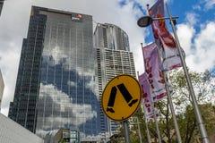 Southbank finansiell fjärdedel i Melbourne Fotografering för Bildbyråer