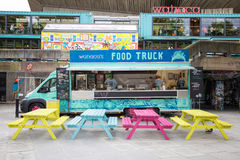 Southbank food wagon. London, UK - 5 June 2017: Colourful food wagon on the Southbank. This is a popular arts area of galleries, theatres, bars and restaurants Royalty Free Stock Photo