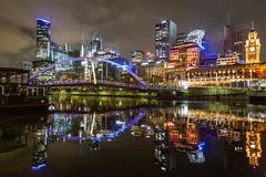 Southbank Melbourne City Lights. Colourful Reflections and Night lights taken on Melbourne Southbank during a cool but calm night in June stock photos