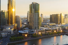 Southbank of Melbourne at night. Melbourne, Australia - Nov 28, 2016: View of Southbank and fire display of Crown Casino at sunset Royalty Free Stock Photo