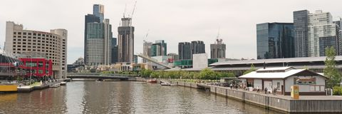 Southbank panorama on Yarra Royalty Free Stock Photography