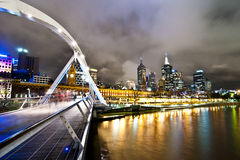 Southbank Pedestrian Bridge, Melbourne in the night Royalty Free Stock Photo