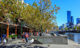 Southbank promenade in Melbourne. Southbank promenade by the river Yarra on a sunny day in Melbourne, Australia Stock Photos