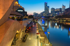 Southbank Promenade and Yarra river embankment at night. Southbank Promenade and Yarra river embankment at nght. Southbank is inner neighbourhood of Melbourne Stock Photos