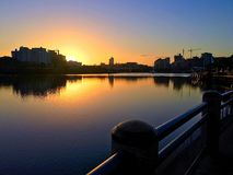 Southbank Sunrise. And Brisbane River walk. Early morning golden light of dawn Stock Image