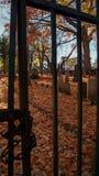 SOUTHBRIDGE, MASSACHUSETS США - 17-ОЕ НОЯБРЯ 2017 Взгляд старого ринва кладбища и могил бары строба в hallowee падения осени стоковое фото rf