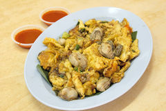 Southeast Asian Fried Baby Oyster Omelette royalty free stock image