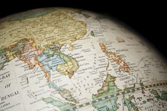 Southeast Asia. A view of Southeast Asia in a world Globe Royalty Free Stock Photo