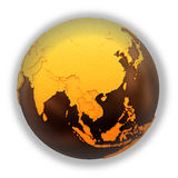 Southeast Asia on chocolate Earth Royalty Free Stock Photo