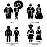 Southeast Asia Clothing Costume. A set of pictograms representing people clothing from Thailand, Vietnam, Cambodia, and Indonesia Royalty Free Stock Photo