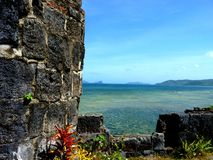 Southeast Asia Colonial Island ruins. Tropical island off the Philippines Stock Photos