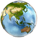 Southeast Asia on Earth. Southeast Asia on highly detailed planet Earth with embossed continents and country borders. Isolated on white background. Elements of Royalty Free Stock Image