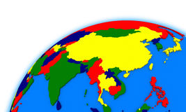 Southeast Asia on globe political map Stock Photography