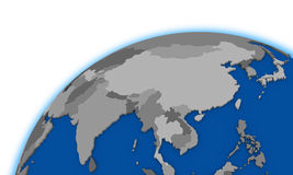 Southeast Asia on globe political map Stock Image