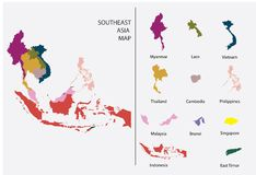 Southeast Asia map graphic vector - Separated isolated country map for design work stock photo