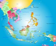 Southeast asia map. Vector color southeast asia map royalty free illustration