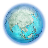 Southeast Asia on marble planet Earth Royalty Free Stock Photo