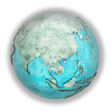 Southeast Asia on marble planet Earth Stock Photography