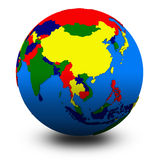 Southeast Asia on political globe illustration Royalty Free Stock Photography