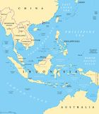 Southeast Asia, political map. With capitals and borders. Subregion of Asia with countries south of China, east of India, west of New Guinea, north of Australia Stock Images