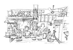 Southeast Asia restaurant doodle sketch illustration Royalty Free Stock Photo