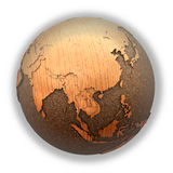 Southeast Asia on wooden planet Earth Royalty Free Stock Images