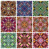 Southeast Asian Art Design. Set of modern and trendy textile pattern in vivid and bright colors, seamless Royalty Free Stock Image