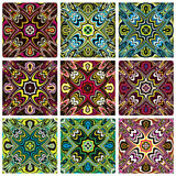 Southeast Asian Art Design. Set of modern and trendy textile pattern in vivid and bright colors, seamless Royalty Free Stock Photo