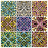Southeast Asian Art Design. Set of modern and trendy textile pattern in vivid and bright colors, seamless Stock Photography