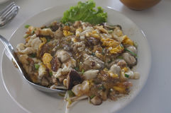 Southeast Asian Fried Baby Oyster Omelette Royalty Free Stock Photos