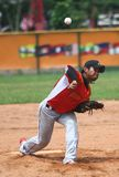 Southeast Asian Games in Palembang. Indonesian pitcher, Muhammad akbar, trying to throw the ball in a match againts defending champion, Filiines at 26th royalty free stock image