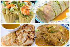 Southeast Asian Singapore Local Food Collage Royalty Free Stock Photos
