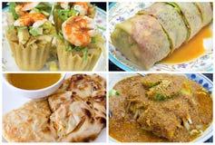 Southeast Asian Singapore Local Food Collage. Southeast Asian Singapore Local Dishes Closeup og Poh Piah Kueh Pie Tee Roti Prata Tauhu Goreng Collage royalty free stock photos
