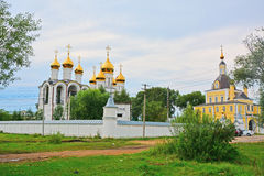 Southeast tower and East gate of Nikolsky Pereslavsky convent in Pereslavl-Zalessky, Russia. Nikolsky Pereslavsky convent of 14th century in Pereslavl-Zalessky stock photo