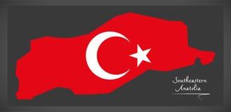 Southeastern Anatolia Turkey map with Turkish national flag illu Royalty Free Stock Images