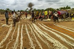 Sale of handmade ropes in a rural market in Ethiopia.