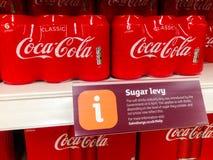 Southend,英国- 2018年4月29日:签署显示goverments糖税征收,介绍2018年4月6日 免版税库存图片