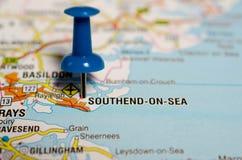 Southend-на-море на карте Стоковое Изображение